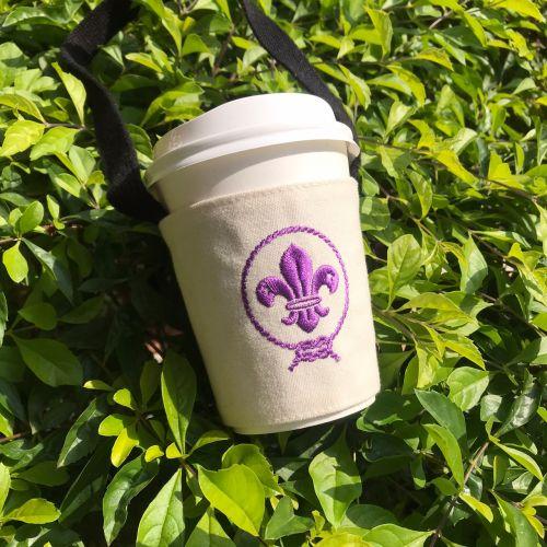 飲料杯提袋 - 白色帆布(世界徽)