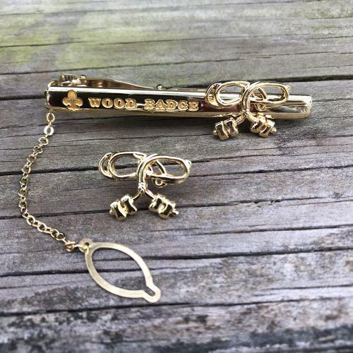 木章徽領夾、領針組(4顆)